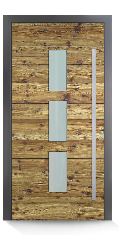 Haidl Haustür mit Holzdesign und flachem Edelstahlgriff
