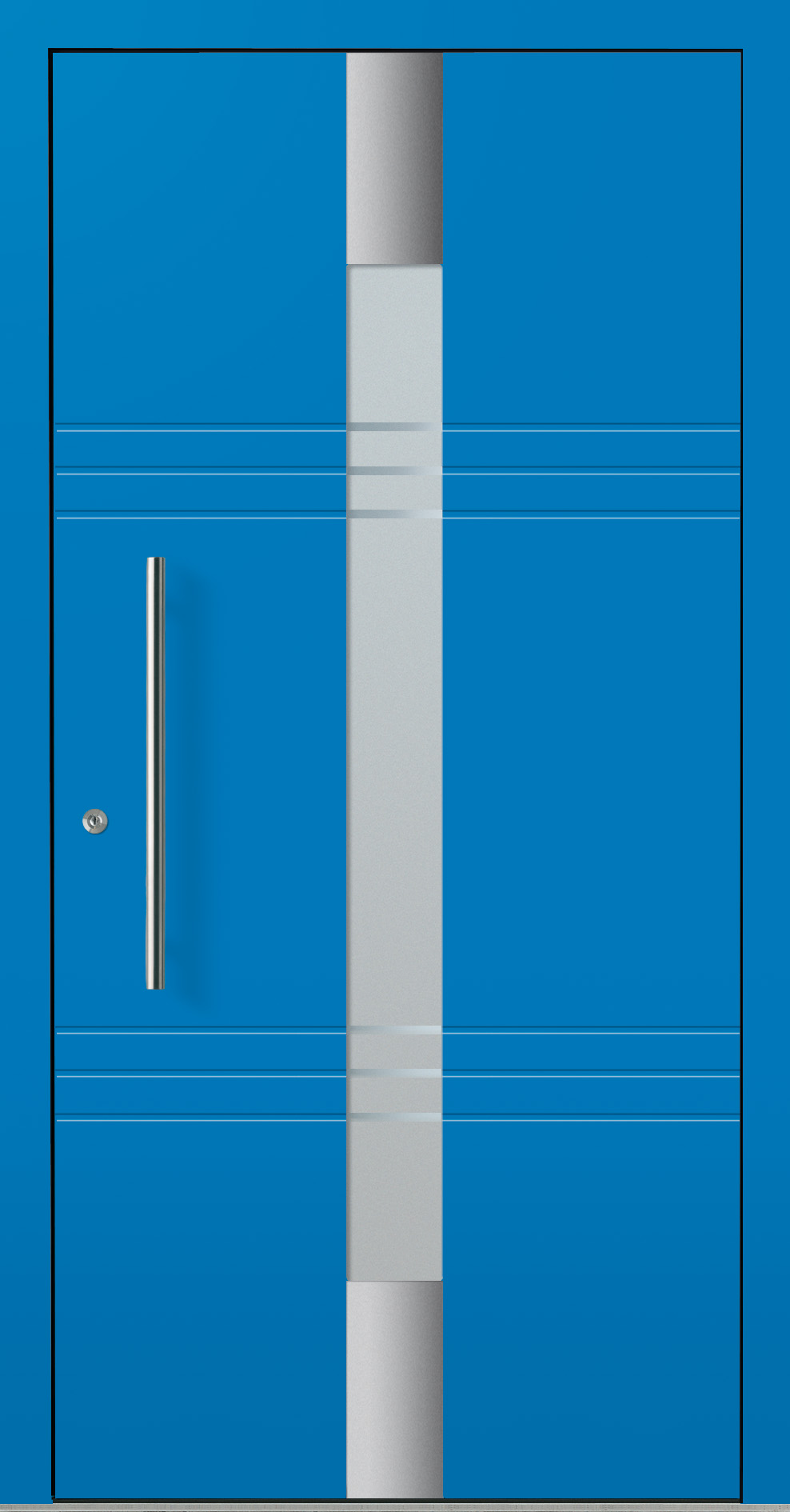 Blaue Noblesse Haustür mit Designglas und Nuten